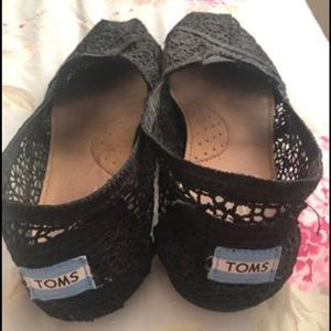 Toms Black Crocheted Flats